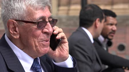 supervisor : Happy Senior Executive Talking On Cell Phone Stock Footage