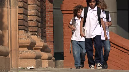 colegio infantil : Niños de primaria Walking Archivo de Video