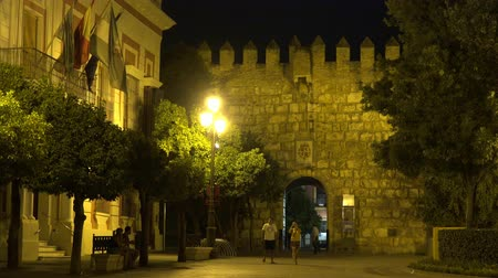 visitantes : Tourists In Old City At Castle Walls At Midnight