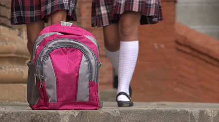 fuksja : Pink School Backpack And Girls Wearing Skirts
