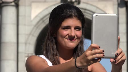 fotky : Woman Selfie With Tablet On Vacation