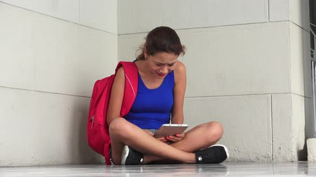 irritate : Female College Student Sadness Anger And Stress With Tablet