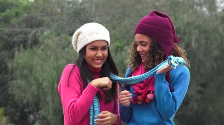 felicidade : Female Teens Having Fun Wearing Sweaters Cold Weather