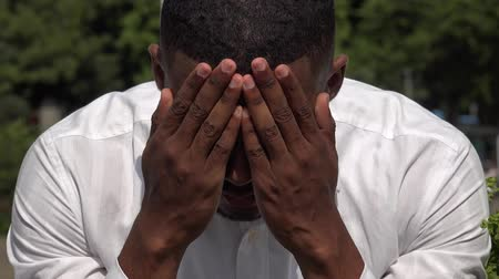 Sad Depressed Black Man Stock Footage