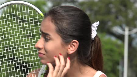 sportowiec : Anxious Teen Female Tennis Player