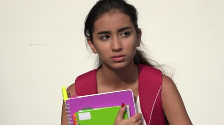 aluno : Unhappy Teen Female Student Stock Footage