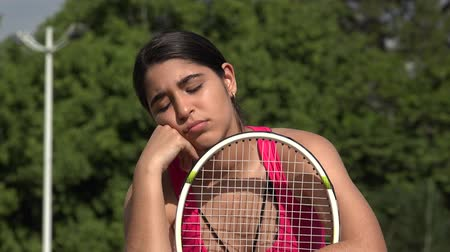 Sad Athletic Female Teenage Tennis Player