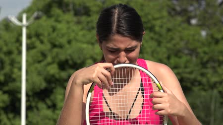 Tearful Athletic Female Teenage Tennis Player Crying
