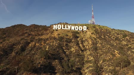 pancarte : Hollywood Signer Vue aérienne Sun Set Californie