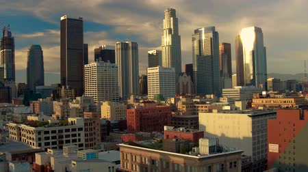 xangai : Down Town Los Angeles Sun set boom pull up Aerial Drone Stock Footage