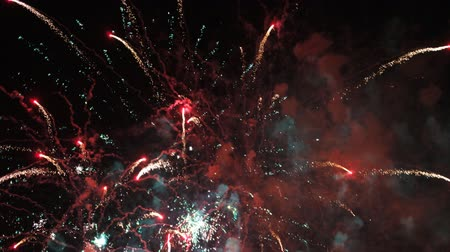 karnaval : amazing fireworks display during the la merce festival and celebrations in barcelona, spain Stok Video