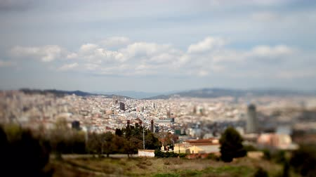 spanyolország : panoramic view of the city of barcelona, looking down from mont juic, with tilt and shift lens