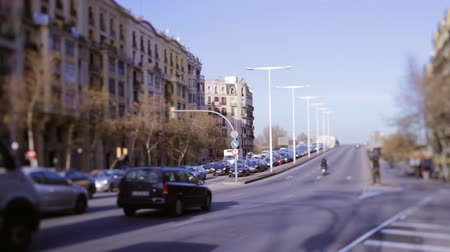 spanyolország : a shot of a street scene in barcelona, spain using tilt and shift lens