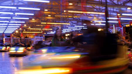 parque : timelapse of dodgem cars at a carnival in barcelona spain