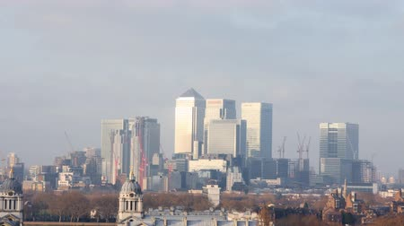 famous pace : view of london docklands from greenwich park Stock Footage