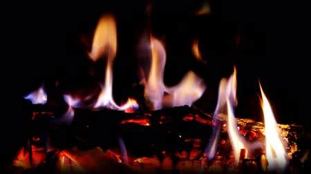 cozy : a nice log fire burning in a fireplace Stock Footage