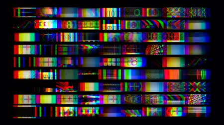 news tv : digital animation of hd screens showing film and tv related static distortion and countdowns, all content self created Stock Footage
