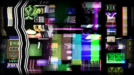 elektronika : digital animation of hd screens showing film and tv related static distortion and countdowns, all content self created Wideo