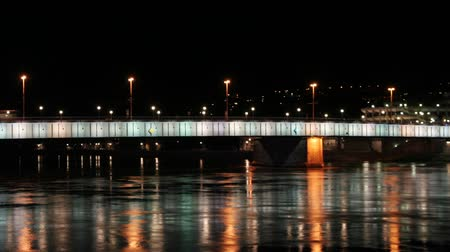 brilhar : lights reflected in the river from a bridge in linz, austria Stock Footage