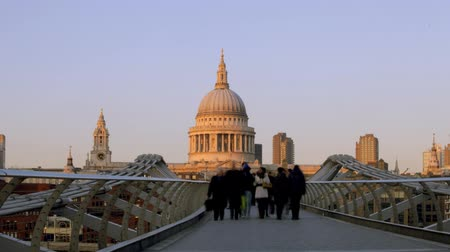 bridges : view of st pauls cathedral, from millennium bridge, london