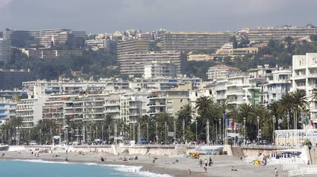 милый : beach and skyline view, nice, south of france Стоковые видеозаписи