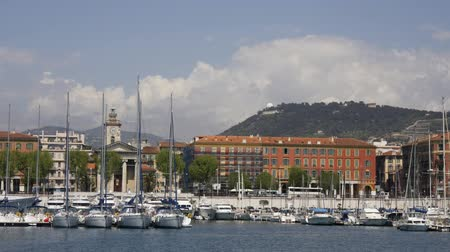 милый : view of nice harbour and skyline, france Стоковые видеозаписи