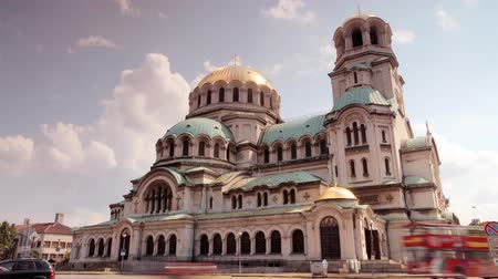 sofia : timelapse shot of Alexander Nevsky church in central sofia, bulgaria Stock Footage