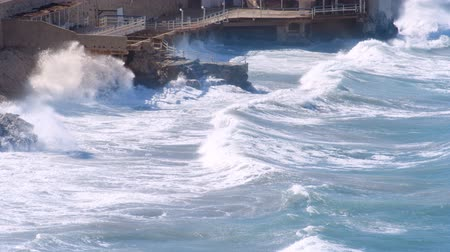marseille : a strorm batters the coast in marseille, france