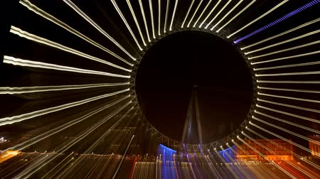gözler : abstract pattern made from multipe timelapse shots of the london eye at night on long exposures Stok Video