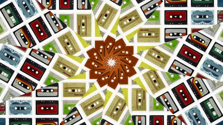 cassette : Abstract kaleidoscope pattern made from clip of sequence of cassette tapes Stock Footage
