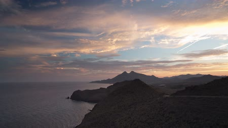 almeria : Beautiful day to night sunset time lapse over the sea in cabo de gata, spain