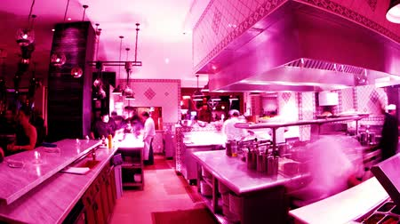 mutfak : timelapse shot of chefs preparing food in a busy hotel restaurant kitchen Stok Video