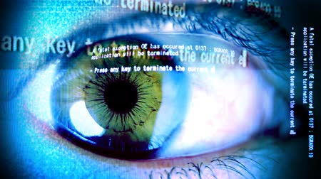 dilated pupil : Close-up of eye with computer data and text overlayed