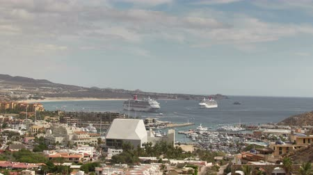 cabo san lucas : timelapse of the port and boats in cabo san lucas, mexico, shot from the hills above