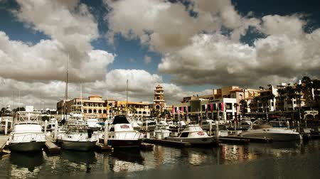 cabo san lucas : panning timelapse of the port and boats in cabo san lucas, mexico Stock Footage
