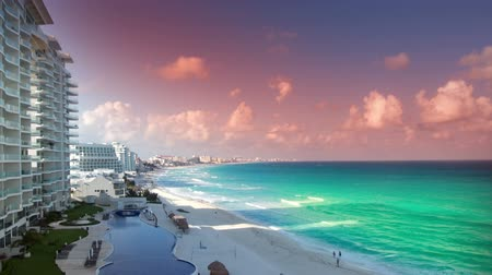 shipping : timelapse of the bay of hotels stretching along the coast in cancun, mexico