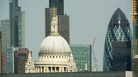 urban skyline : panning video of St Paulss cathedral and the city of london skyline in the background