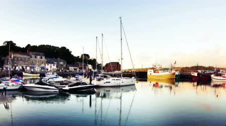fishermen : timelapse of the picturesque harbour village of padstow on the cornwall coast, england