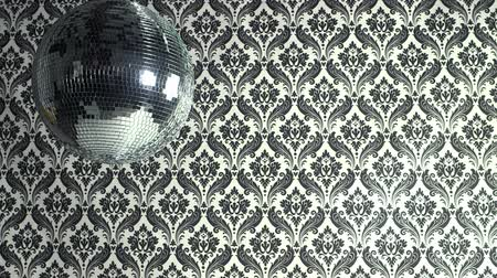 балки : a funky discoball spinning with retro wallpaper background. perfect clip for club visuals or partycelebration