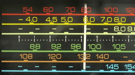 novela : close up of an retro radio with the marker running through the different stations and frequencies Vídeos