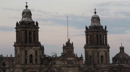 szövetségi : time-lapse of the main cathedral in mexico city, (located on the zocalo) Stock mozgókép