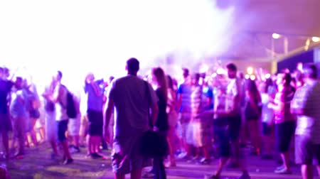 a party : timelapse of the audience at a dance music festival in barcelona