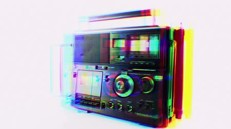 novela : Stop motion of a cool vintage radio spiining around
