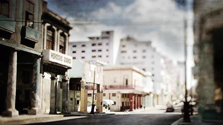 kübalı : stop motion of a havana street scene Stok Video