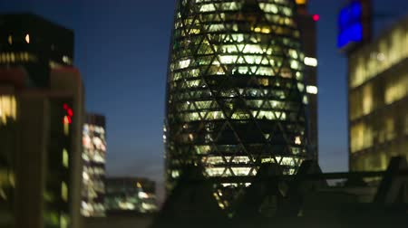 london england : the Gherkin building in the financial heart of the city, london at night