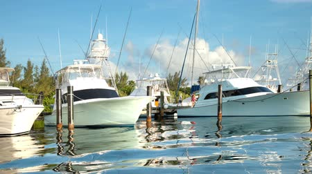 luksus : Beautiful and dramatic timelapse with wonderful colours of yachts in a marina in isla mujeres, mexico