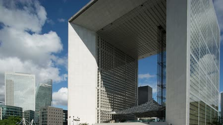 arche : the grande arche in la defence paris on a beuatiful summers day