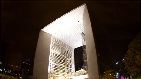 arche : Timelapse of the grande arche in la defence paris, at night Stock Footage