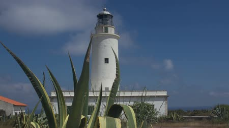 балки : timelapse of the la mola lighthouse in formentera Стоковые видеозаписи