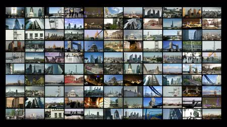 london england : a collection of Screens showing different videos and timelapses from all over london. all the content is my own work Stock Footage